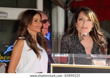 Sofia Vergara, Ed O'Neill, Katy Segal at the Ed O'Neill Hollywood Walk Of Fame Induction Ceremony, Hollywood, CA. 08-30-11 - stock photo