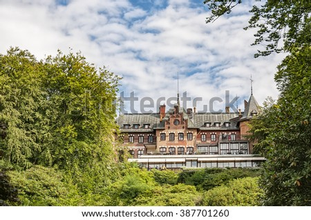Sofiero slott is a castle in Helsingborg Municipality, Scania, in southern Sweden. The castle holds a garden festival in it's huge grounds every year. - stock photo