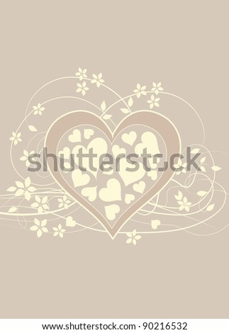 Soft and pretty beige love background with heart , swirls and flowers - stock photo