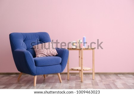 Soft Armchair Side Table Near Color Stock Photo (Royalty Free ...