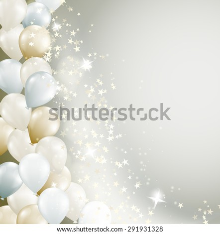 soft background with flowing stars and balloons. raster version - stock photo