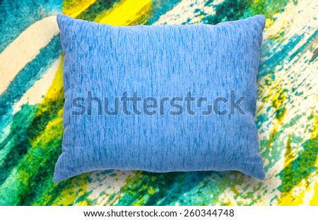 Soft blank blue pillow on watercolor background - stock photo