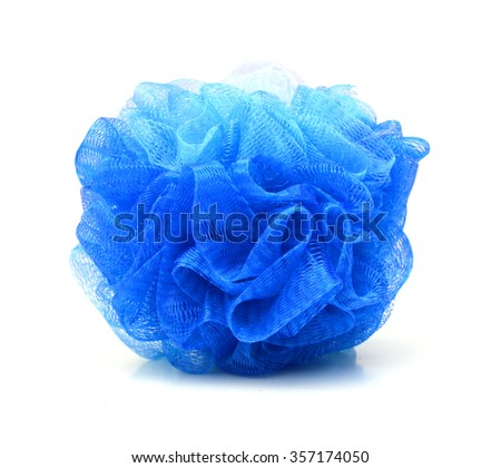 Soft blue bath puff or sponge isolated on white background with copy space.  - stock photo