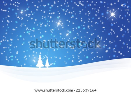 Soft blue Christmas winter scene with tree and sparkle. Illustration greeting card.
