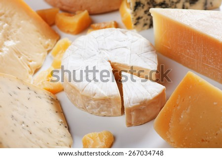 Soft cheese, brie or camembert, with other cheeses - stock photo