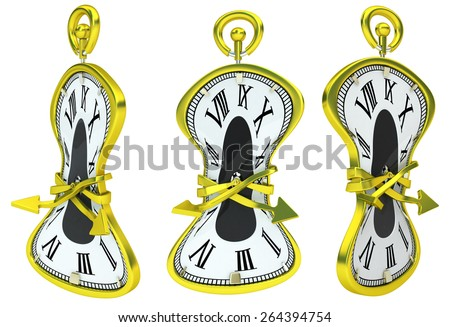 Soft clock 3d model isolated with white background - stock photo