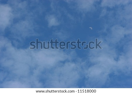 Soft Cloudy Sky with Moon for Backgrounds
