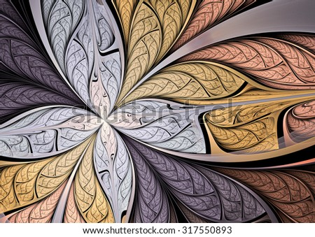 Soft color  fantasy artistic flower. Beautiful abstract background for wallpaper, interior, album, flyer cover, banner, poster, booklet. Fractal artwork for creative vintage graphic design
