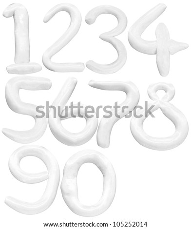 soft color of number 1 to 0 isolated white background - stock photo
