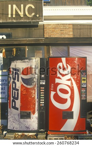 Soft drink vending machines for Pepsi and Coke, Manchester, VT - stock photo