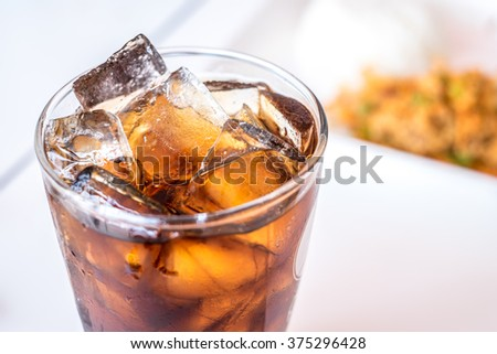 soft drink with food background