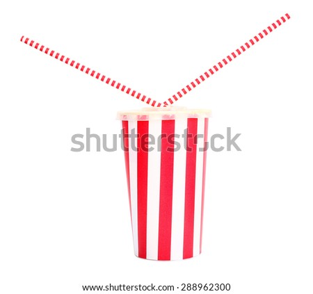 Soft drink with two straws inside - stock photo