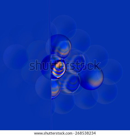 Soft Filter Concept. Abstract Blue 3d Bubbles. Turquoise Colored Translucent Soap Bubble. Digital Glassy Round Elements. Fresh Transparent Pearl Collection. Organic Creative Illustration. Background. - stock photo