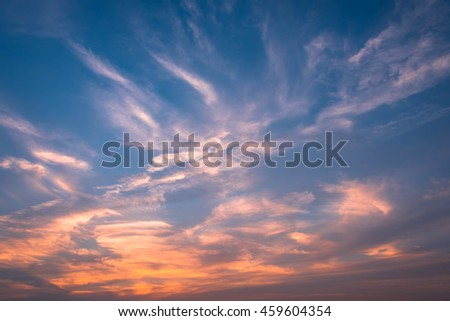 Soft focus Blue and cloudy sky background with white clouds