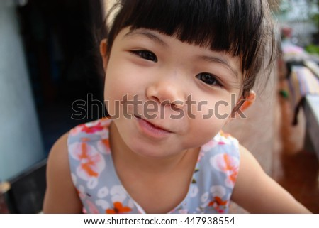 Soft focus blurred Close up portrait of Asian little girl in the series photo.