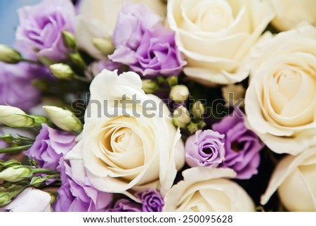 Soft-focus close-up of fresh flowers, roses, beautiful romantic bouquet for Valentine's Day. Holidays and celebrations  - stock photo