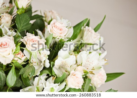 Soft-focus close-up of fresh flowers, roses, beautiful romantic bouquet. Holidays and celebrations  - stock photo