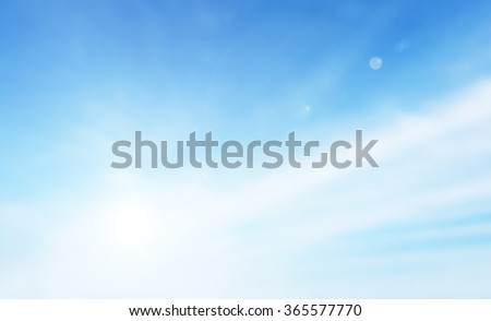 Soft focus clouds sky background. Blue sky white sunlight day time background. Abstract blurred of sunlight. - stock photo