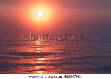 Soft focus image of Sunrise over the Pacific Ocean off the coast of Washington state and Oregon in the Pacific Northwest of the United States west coast