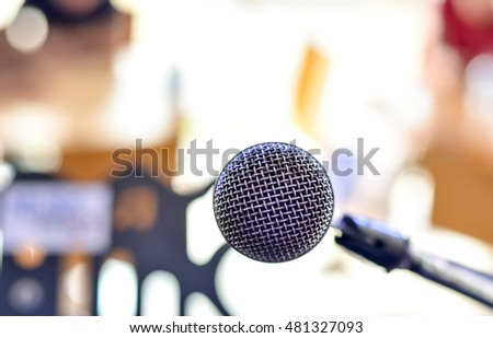 Soft focus microphone on blurred background,copy space.