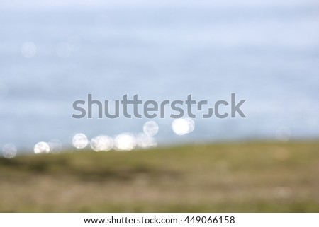 Soft Focus Ocean and Grass Background - stock photo
