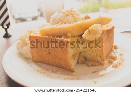 soft focus of Banana and Honey French Toast on vintage style