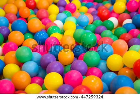 soft focus of colorful plastic ball in playground for kid