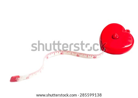 soft focus of heart measure tape isolated on whit,  abstract back ground to solution for heart health and prevent the occurrence of heart disease.