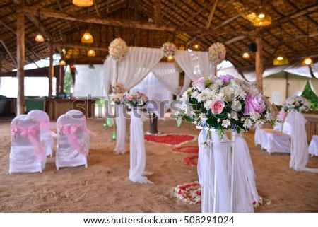 Soft focus of wedding decoration setting for wedding ceremony