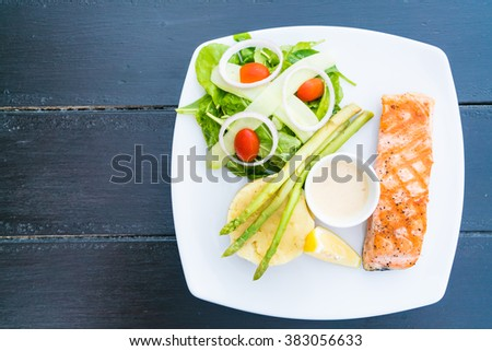 Soft focus on Salmon meat fillet steak - Healthy food style