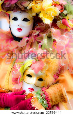 Soft focus picture of venetian carnival mask. Shot with a flou filter to make a dreaming effect. - stock photo