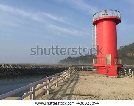 Soft focus Pier in South Korea sea with beautiful blue sky and copy space area.The lighthouse a - stock photo