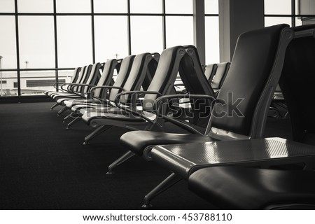 Soft focus seat at airport lounge background.