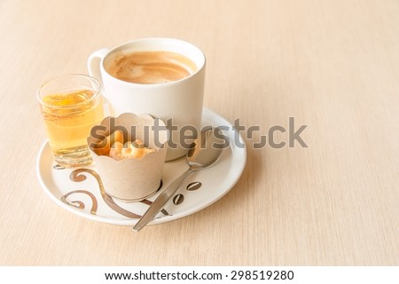 Soft focus,Set of coffee and tea on wood table background,vintage style - stock photo