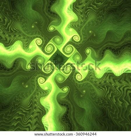Soft fractal green cross - stock photo