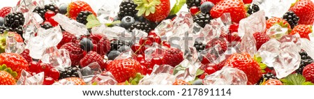 soft fruits in the ice - stock photo