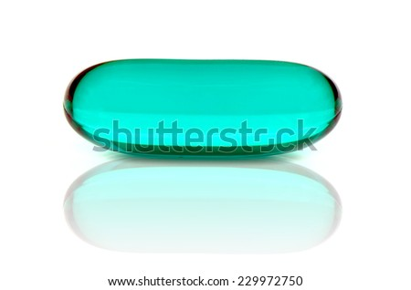 soft gelatin capsule use in pharmaceutical manufacturing for contain oily drug and nutritional supplement like vitamin A, D,evening primrose oil, rice barn oil and other oily drugs. - stock photo