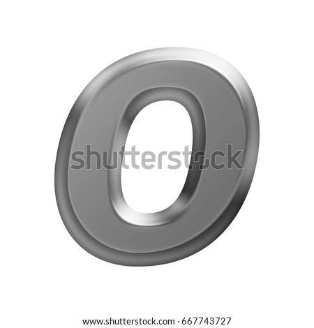 Soft glow shining metal uppercase or capital letter O in a 3D illustration with a flat panel metallic gray shiny surface and in a basic bold font isolated on a white background with clipping path.