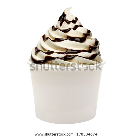 Soft ice cream with chocolate sauce in paper cup on white background - stock photo