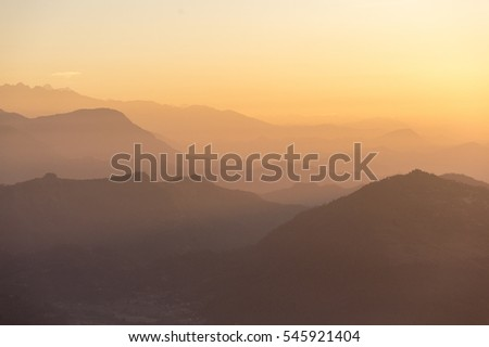 Soft image mountain range and nature at Pokhara during sunrise from Sarangkot, Nepal.