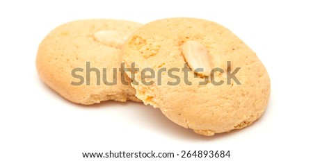 soft Macaroon cookies isolated on white background - stock photo