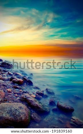 soft natural sea sunset. Vintage style - stock photo