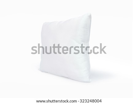 Soft pillow isolated. White pillow isolated. Clean pillow isolated. Comfortable pillow isolated. Comfort pillow. Nap pillow. Sleep pillow. Simple style pillow. Modern pillow. White pillow for hug. Nap - stock photo