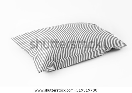 soft pillows with striped covers isolated on white background