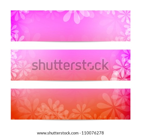 Soft pink floral summer banners - raster version