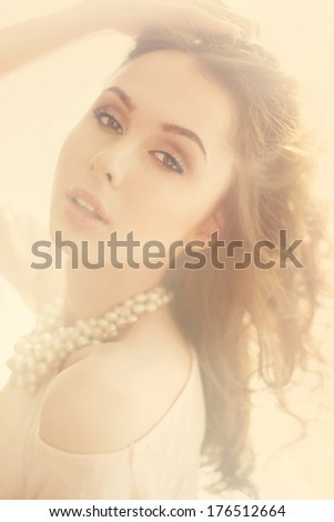 soft portrait of a beautiful young woman - stock photo