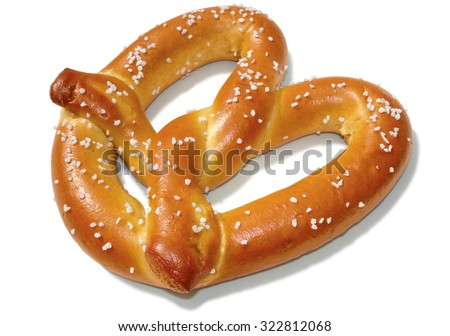 Soft pretzel isolated on white with clipping path included. - stock photo