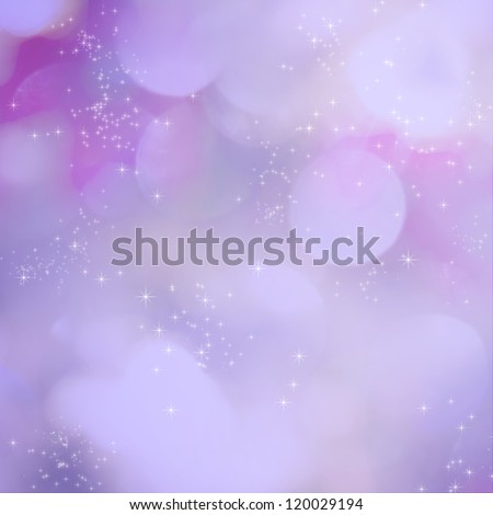 Soft purple light abstract background with sparkling white stars. - stock photo