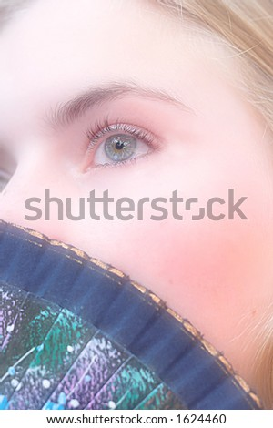 SOFT romantic photo of young shy girl - stock photo
