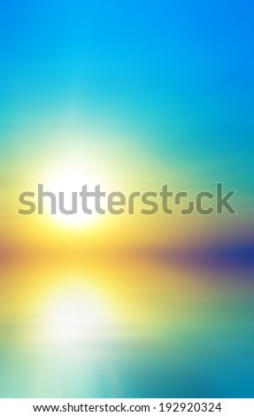 Soft sea sunset. Abstract bokeh background - stock photo